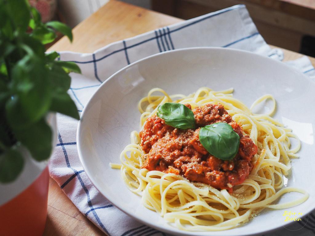 Vegansk spaghetti med färssås 1
