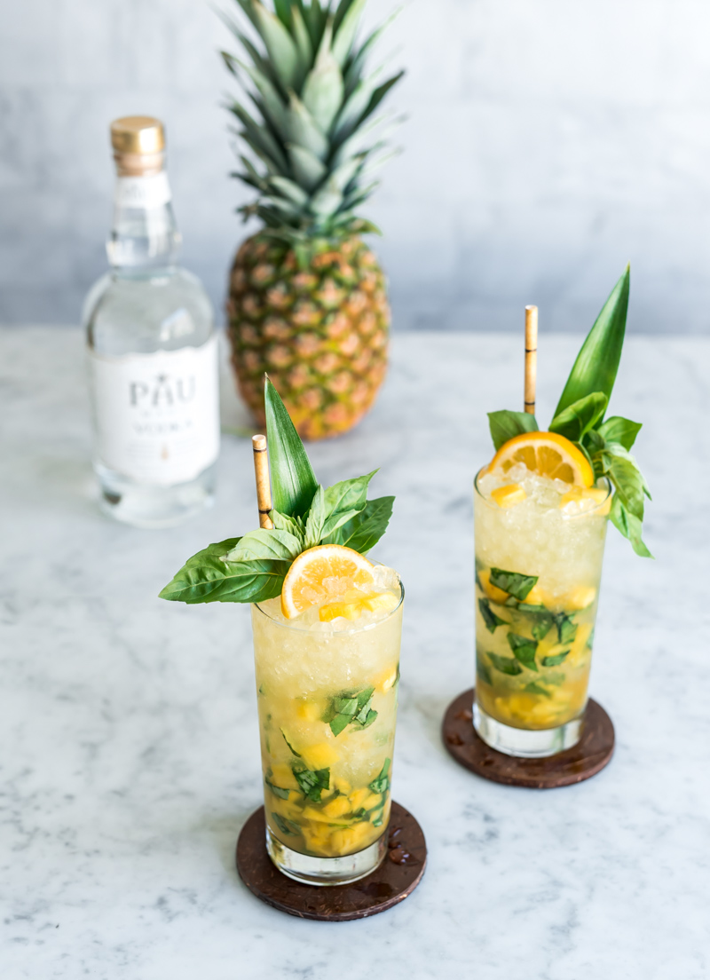 Earth Day Cocktail - Vodka Pineapple Basil Smash Cocktail made with Pau Maui Vodka www.pineappleandcoconut.com