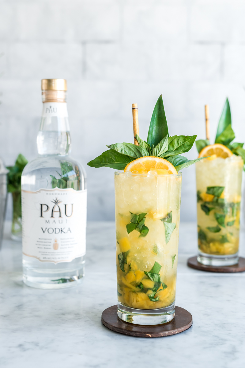Earth Day Cocktail - Vodka Pineapple Basil Smash Cocktail with Pau Maui Vodka www.pineappleandcoconut.com