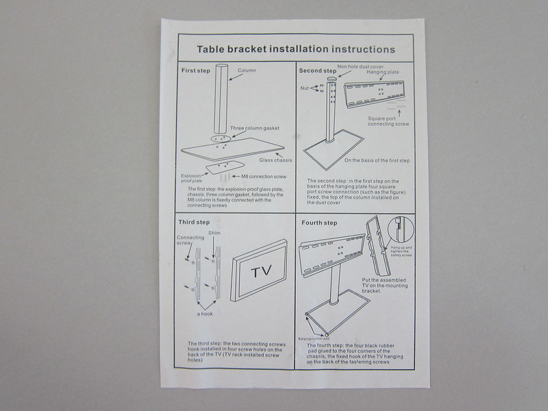 Universal TV Tabletop Stand - Instructions