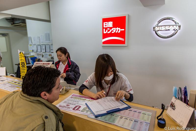 Solicitando nuestro coche de alquiler en Japón