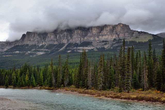 Clouds Atop Castle Mountain Along the Banks of the Bow River (Banff National Park)