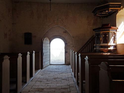 Church interior at Stevns Klint in Denmark