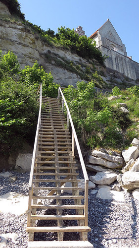 The stairs leading down from the church that hangs over the edge of Stevns Klint in Denmark