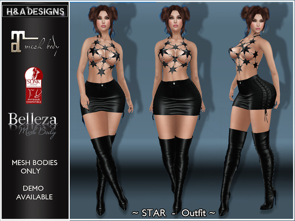 [H&A Designs]-Star Outfit Black