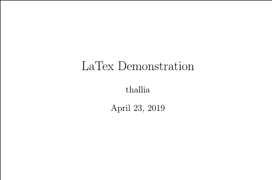 LaTeX Demonstration: Basic Document