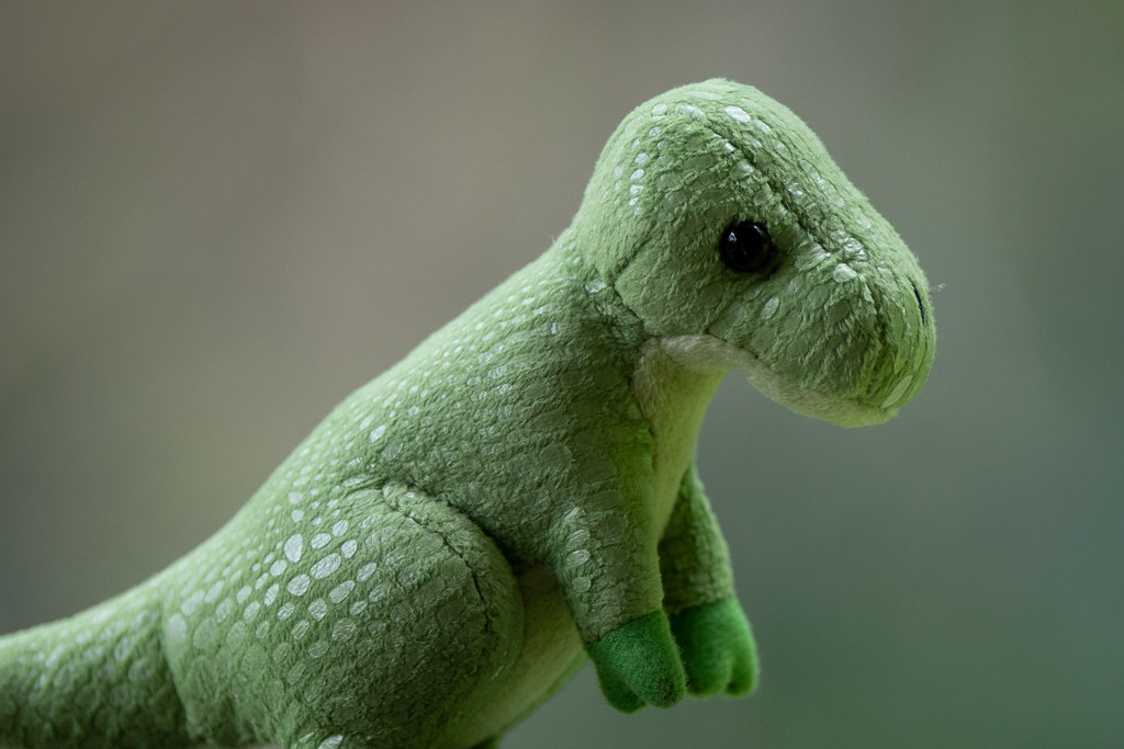 Image: Toy Dinosaur - Canon EF 200mm f/2L IS USM at f/2 - 2,048px Crop