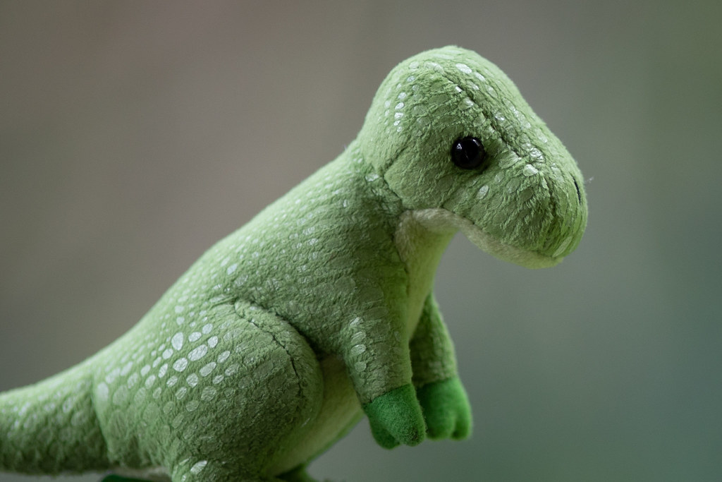 Image: Toy Dinosaur - Canon EF 200mm f/1.8L USM at f/1.8 - 2,048px Crop