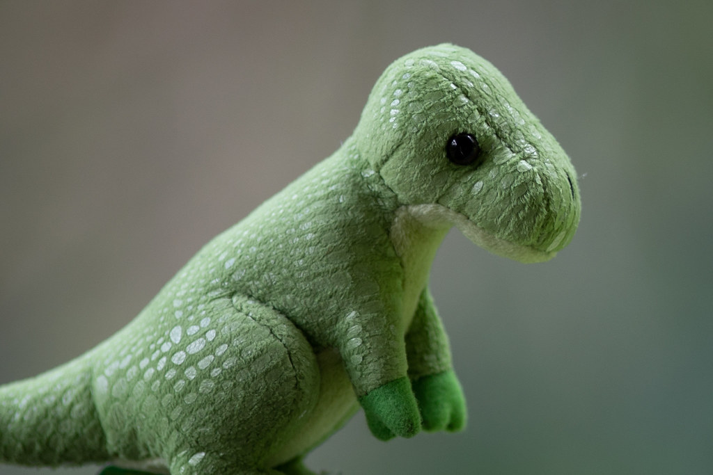 Image: Toy Dinosaur - Canon EF 200mm f/1.8L USM at f/2 - 2,048px Crop