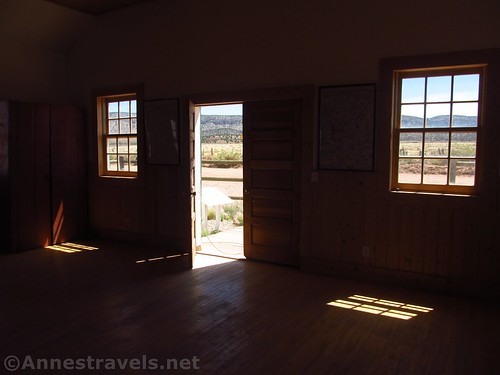 Sunlight filters in through the open door and the windows at the Mount Trumbull Schoolhouse in Grand Canyon-Parashant National Monument, Arizona