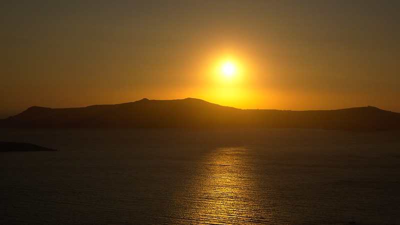 Stunning sunset in Fira