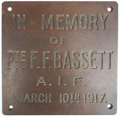 Frederick Bassett Memorial plaque