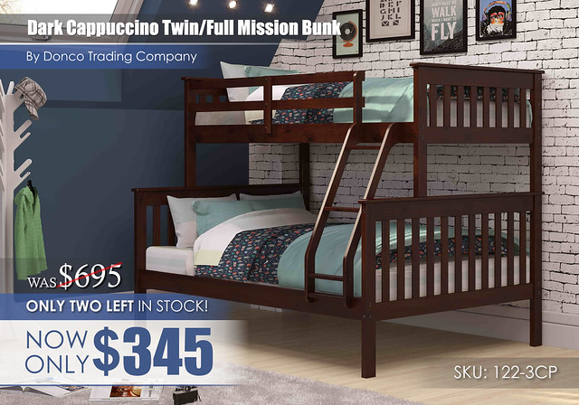 Clearance_Donco Dark Cappuccino Twin Full Mission Bunk Bed 122-3CP_Update