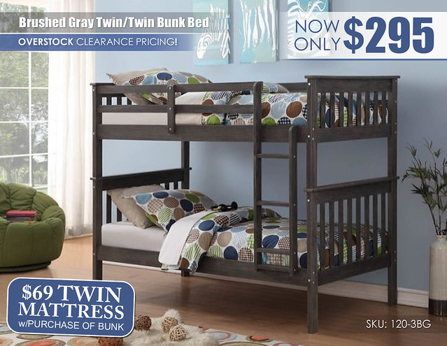 Brushed Gray Twin over Twin Bunk Bed_120-3BG_Update