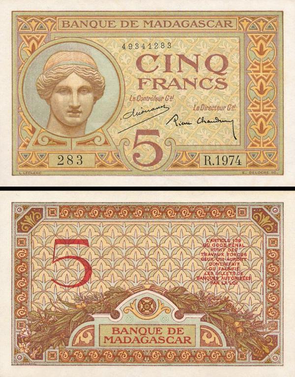5 Frankov Madagaskar 1937, P35b