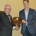 Aves Thompson (left) receiving his NORPASS recognition Gold Pan from John Binder, Alaska DOT