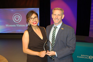 Wed, 2019-04-24 07:10 - Pictured left to right: 'Women Vision S.C.' award recipient Jennifer Gutierrez-Caldwell and SCETV President and CEO Anthony Padgett.