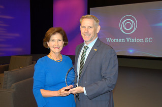 Wed, 2019-04-24 07:16 - Pictured left to right: 'Women Vision S.C.' award recipient Inez Tenenbaum and SCETV President and CEO Anthony Padgett.