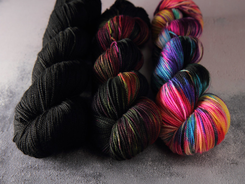 Hand dyed yarn skeins - dark neon fade