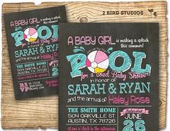 Coed baby shower invitation – Summer baby shower – Pool party baby shower invita…