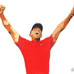 """A Well Earned Triumph"" 18""×24"" Acrylic on canvas Son of Indy original, featuring Tiger Woods exuberant celebration of winning his fifth Masters and 15th major."