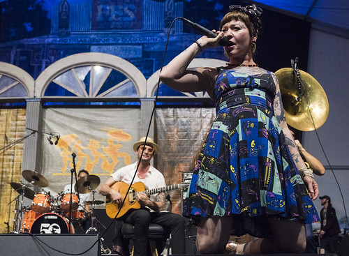 Meschiya Lake & the Little Big Horns play the Blues Tent during Jazz Fest day 1 on April 25, 2019. Photo by Ryan Hodgson-Rigsbee RHRphoto.com