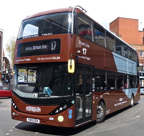 YN19 EEM 'Nottingham City Transport' No. 455 'Brown Line 17'. Scania N280UD / Alexander Dennis Ltd. Enviro 400CBG City  on Dennis Basford's railsroadsrunways.blogspot.co.uk'