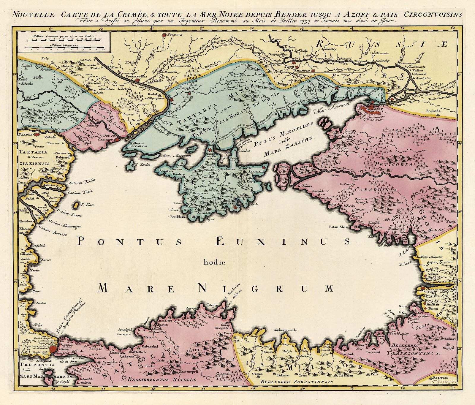 1737. Новая карта Крыма и всего Черного моря от Бендер до Азова