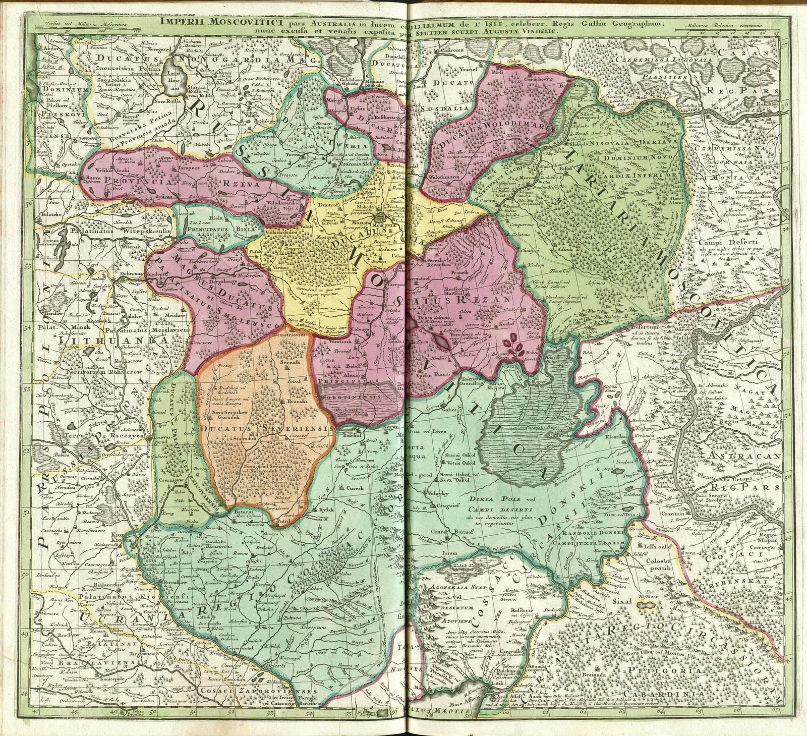 1730. Южная часть Московской империи. Мэтью Л'Иль, Гийом де Сойтер, Аугсбург, Германия