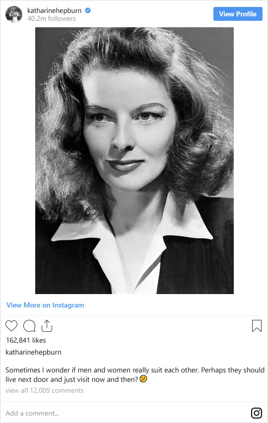 If Legendary Old Hollywood Stars Were on Instagram Today: Katharine Hepburn | Not Dressed As Lamb (image: WikiCommons)