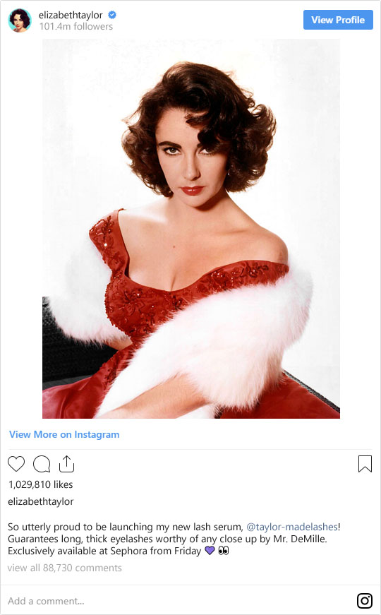 If These Legendary Old Hollywood Stars Were on Instagram Today: Elizabeth Taylor | Not Dressed As Lamb (image: WikiCommons)
