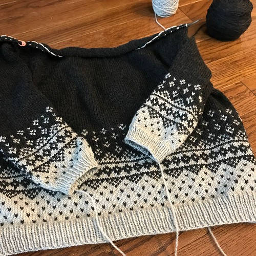 My rescued Rainier WIP! I had to frog back a big chunk of the body - it was huge, too big to turn into my planned dress so I have turned it back into a boxy styke!