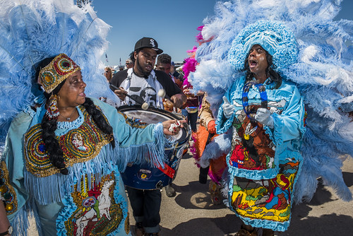 Queen Bee and have son Honey walk with Golden Sioux at Jazz Fest day 2 on April 26, 2019. Photo by Ryan Hodgson-Rigsbee RHRphoto.com
