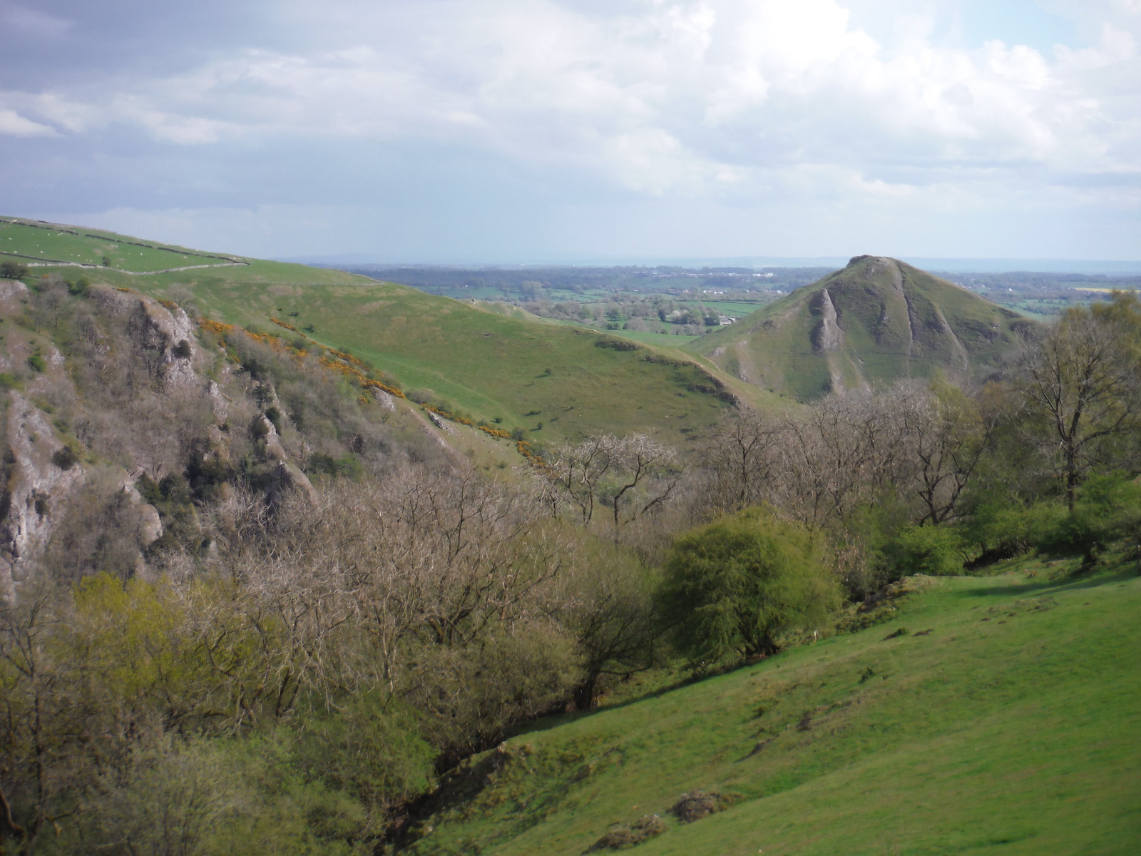 View along Dovedale to Thorpe Cloud from Ilam Tops SWC Walk 326 - Dovedale (Ashbourne Circular)