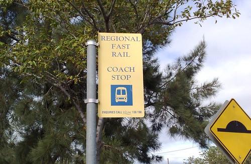 V/Line bus stop sign at Footscray, April 2009