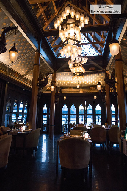 High ceilings inside the indoor dining area of Salathip