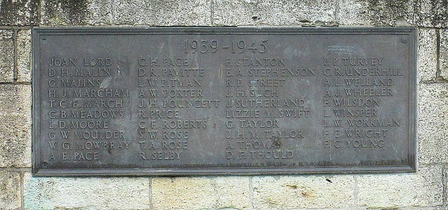 Evesham Second Word War Memorial Plaque