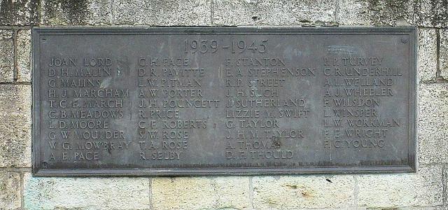 Evesham Second Word War Memorial Plaque