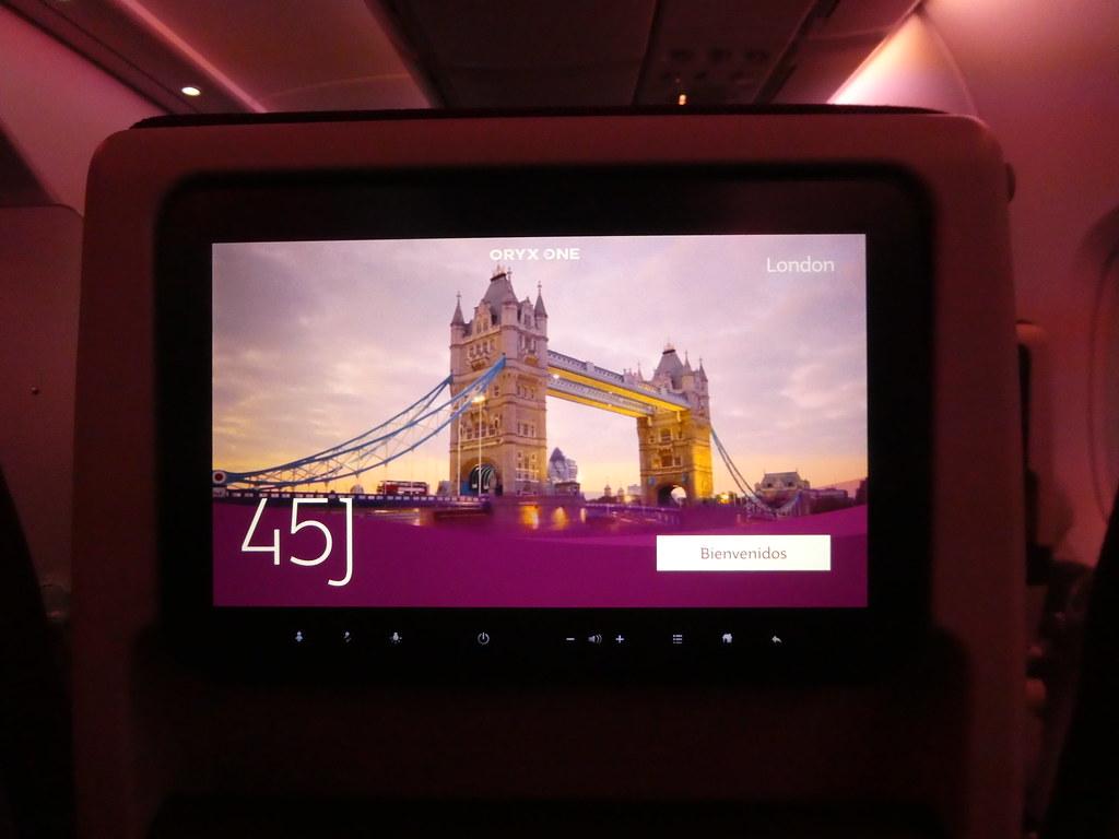 My seat on the Qatar Airways A380 flight from Doha to London Heathrow