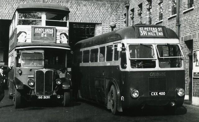 Apr 1949 – 2 London Transport classics of the period.  St Albans bus garage.