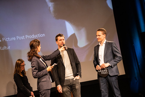 CE19 - awards ceremony // Katharina Weinberger-Lootsma (Jury Competition - Local Artist), Moderator Karin Schmid, Marco Zinz (THE GRAND POST), Alexander Fischbacher  (THE GRAND POST) // photo © Andreas Wörister / subtext.at