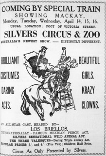 Circus poster advertising the arrival of Silvers Circus and Zoo in Mackay, 1947