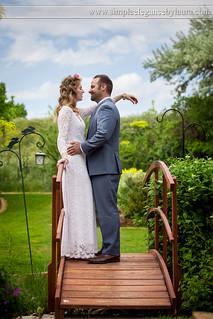 Spring Couple on a Garden Bridge