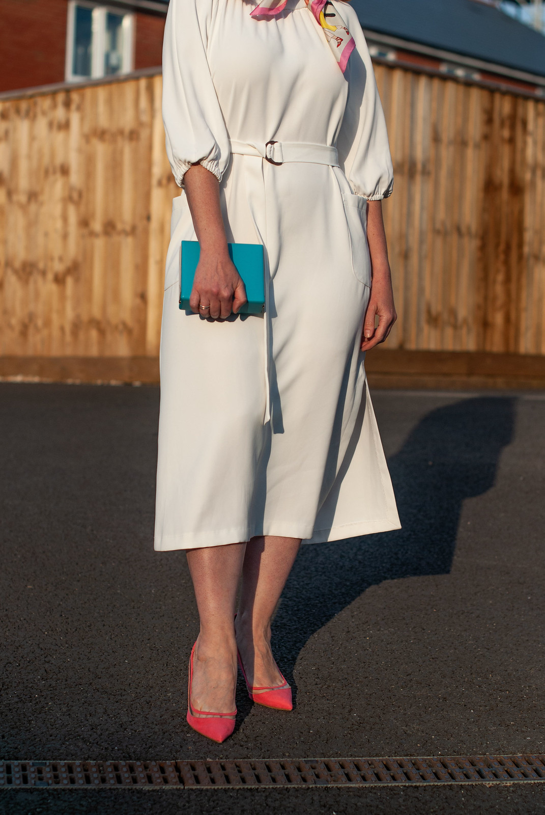 Finding Your Most Flattering Dress Silhouette: Elegant White Midi Dress with Heels | Not Dressed As Lamb, Over 40 Fashion and Style