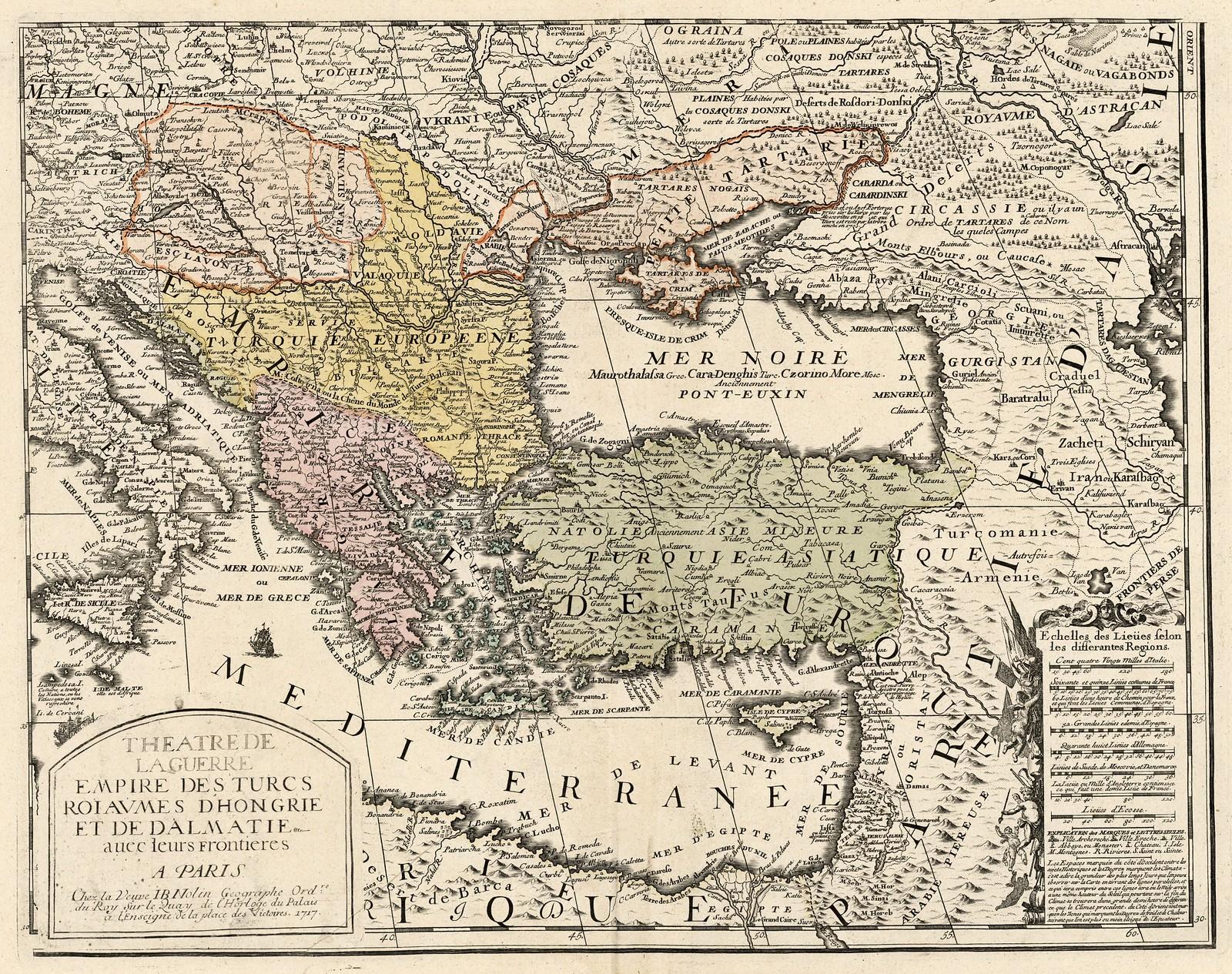 1717. Театр военных действий Турецкой Империи, Королевство Венгрия и Далмация с их границами, Жан Батист, Париж