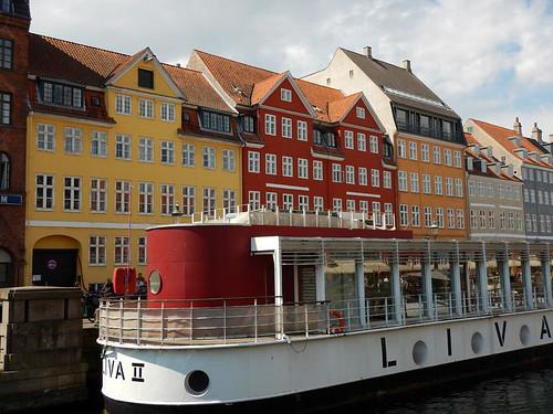 Bright houses on the canal in Nyhavn, Copenhagen (Denmark)