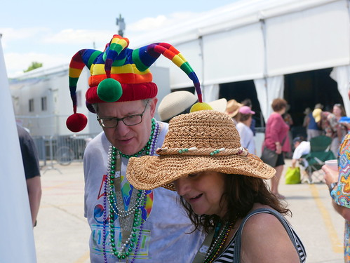 Crazy hat on Day 4 of Jazz Fest - April 28, 2019. Photo by Louis Crispino.