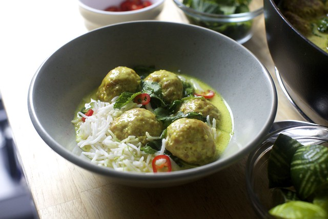 ginger-garlic meatballs in coconut broth