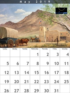 Free! May 2019 Calendar featuring the old fort in downtown Las Vegas, Nevada (painting)