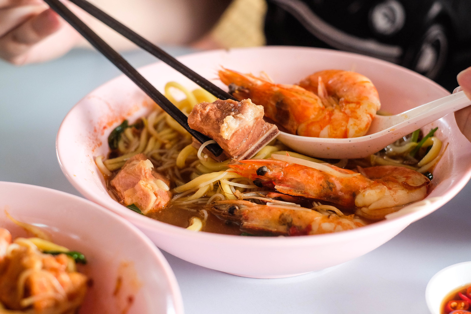 Close Up of Pork Rib in Prawn Noodle Soup